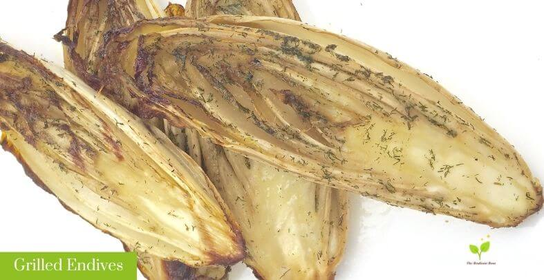 Grilled Endives on White Plate with Wildtree Dill Dip and Olive oil | Root Nutrition