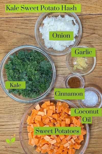 Ingredients for Kale Sweet Potato Hash White Onion, Kale, Garlic, Coconut Oil, Cinnamon and Sweet Potatoes   The Radiant Root