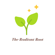 """Green Root with yellow sparkle says """"The Radiant Root"""" Logo 