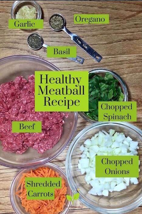 """Glass bowls of various sizes with ingredients for a healthy meatball recipe, beef, spinach, garlic, basil, oregano, shredded carrots, chopped onion and the words """"Healthy Meatball Recipe"""" in black font   The Radiant Root"""