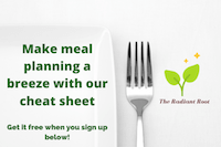 """White plate with a silver fork and words """"Make meal planning a breeze with our cheat sheet! Get it free when you sign up at the link below 