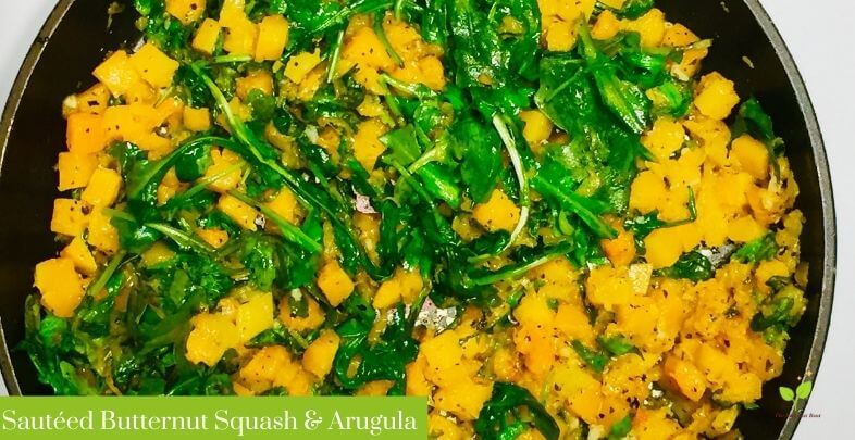 Pan with sauteed butternut squash arugula and garlic | The Radiant Root