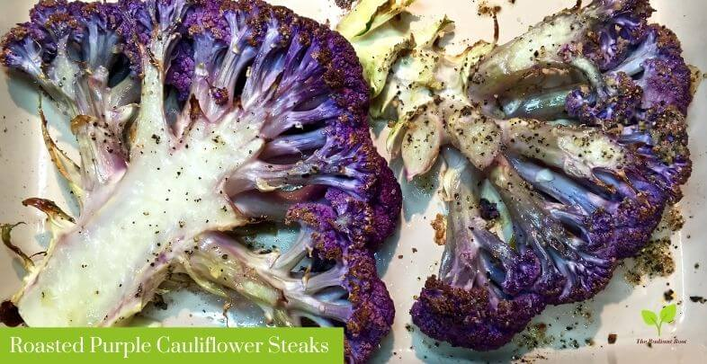 Roasted Purple Cauliflower Steaks in a White Pan | The Radiant Root