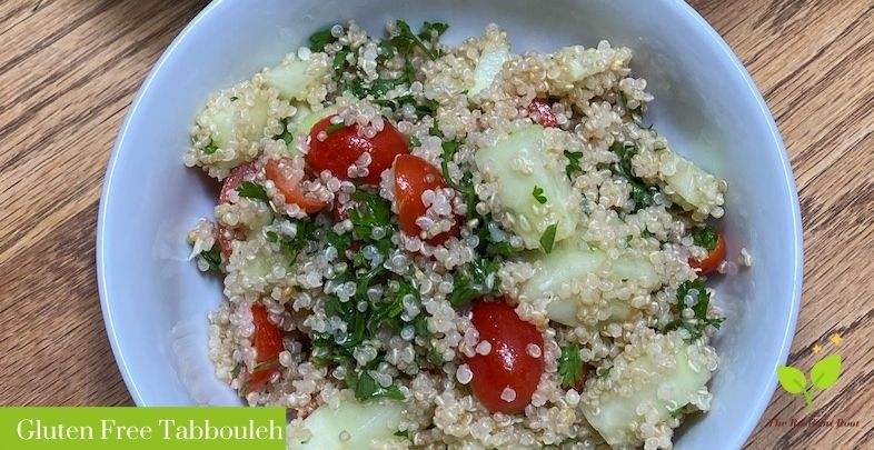 Gluten Free Tabbouleh in a glass bowl | The Radiant Root